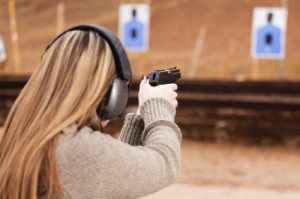 Woman at Shooting range Texas CHL