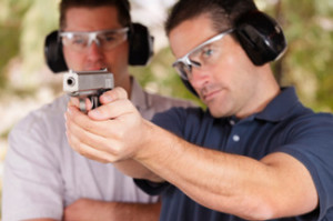 man at shooting range getting his Texas CHL